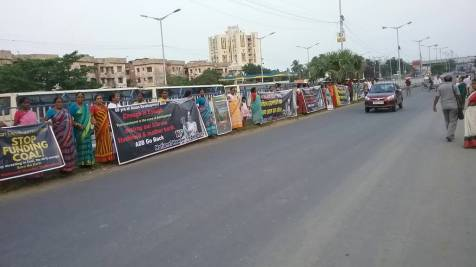 Human chain against and other IFIs in front of E.M. Bypass, 24 Pargana, West Bengal organized by the National Hawkers Federation